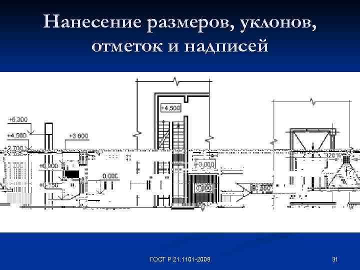 Нанесение размеров, уклонов, отметок и надписей ГОСТ Р 21. 1101 -2009 31