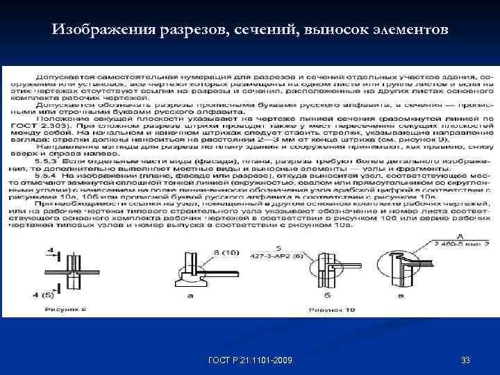 Изображения разрезов, сечений, выносок элементов ГОСТ Р 21. 1101 -2009 33