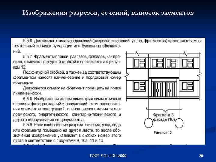 Изображения разрезов, сечений, выносок элементов ГОСТ Р 21. 1101 -2009 35
