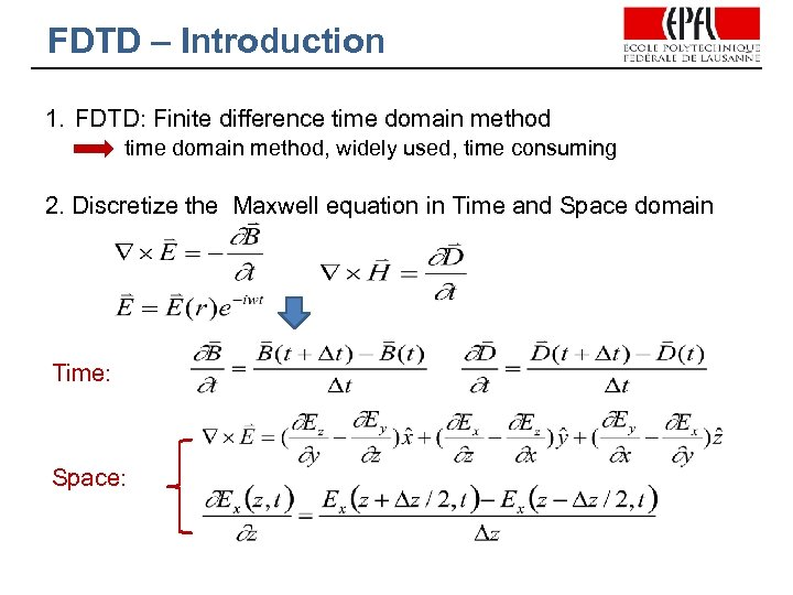 FDTD – Introduction 1. FDTD: Finite difference time domain method, widely used, time consuming