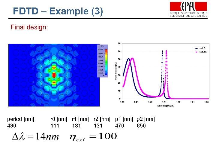 FDTD – Example (3) Final design: period [nm] 430 r 0 [nm] r 1