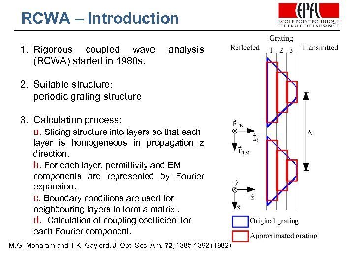 RCWA – Introduction 1. Rigorous coupled wave (RCWA) started in 1980 s. analysis 2.