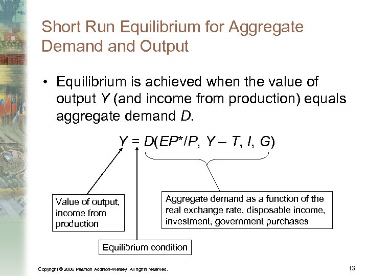 Short Run Equilibrium for Aggregate Demand Output • Equilibrium is achieved when the value