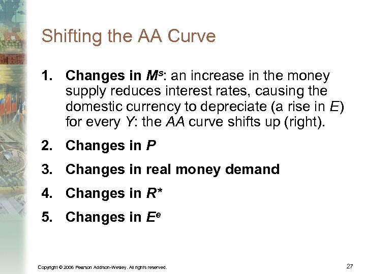 Shifting the AA Curve 1. Changes in Ms: an increase in the money supply
