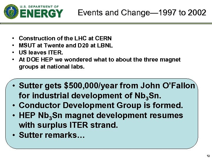 Events and Change— 1997 to 2002 • • Construction of the LHC at CERN