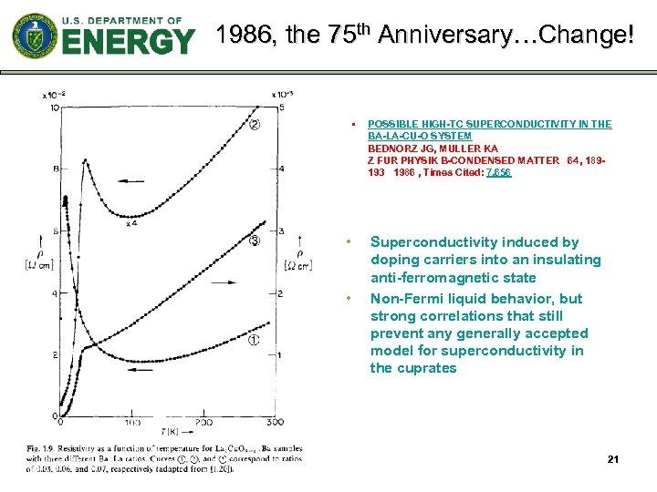 1986, the 75 th Anniversary…Change! § • • POSSIBLE HIGH-TC SUPERCONDUCTIVITY IN THE BA-LA-CU-O