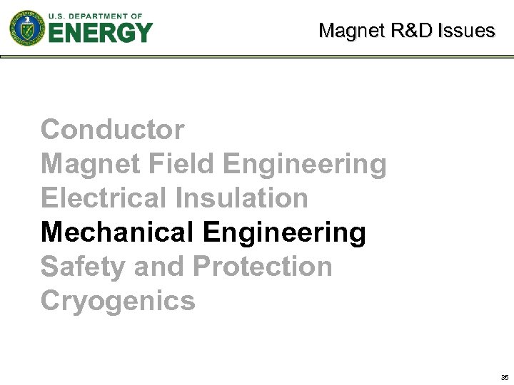 Magnet R&D Issues Conductor Magnet Field Engineering Electrical Insulation Mechanical Engineering Safety and Protection