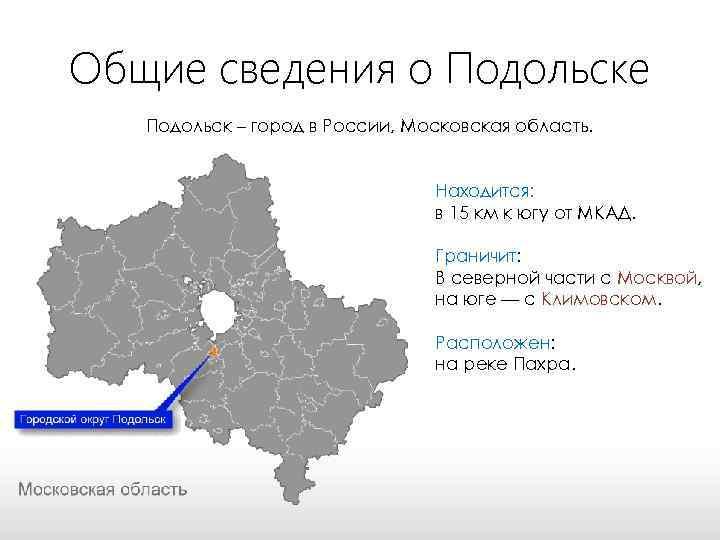 Общие сведения о Подольске Подольск – город в России, Московская область. Находится: в 15