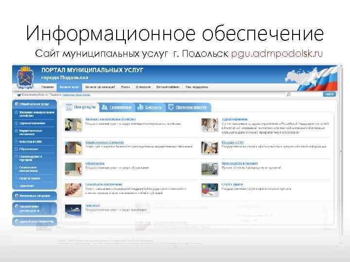 Информационное обеспечение Сайт муниципальных услуг г. Подольск pgu. admpodolsk. ru