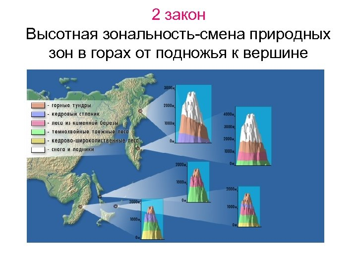 2 закон Высотная зональность-смена природных зон в горах от подножья к вершине