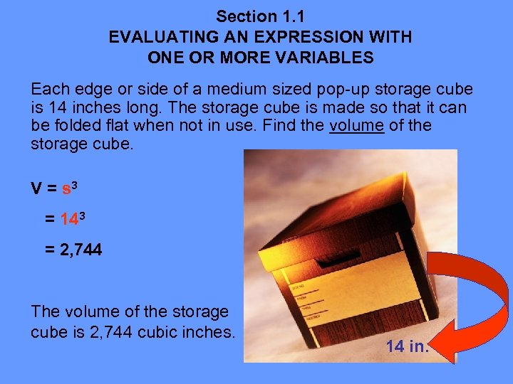Section 1. 1 EVALUATING AN EXPRESSION WITH ONE OR MORE VARIABLES Each edge or