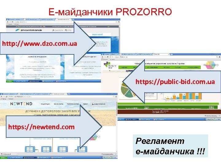 Е-майданчики PROZORRO http: //www. dzo. com. ua https: //public-bid. com. ua https: //newtend. com