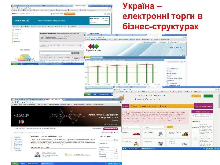 Україна – електронні торги в бізнес-структурах