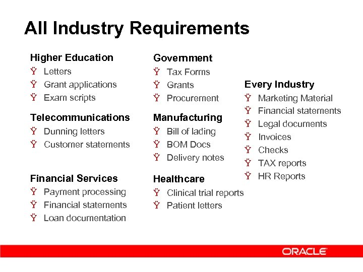 All Industry Requirements Higher Education Government Ÿ Letters Ÿ Grant applications Ÿ Exam scripts