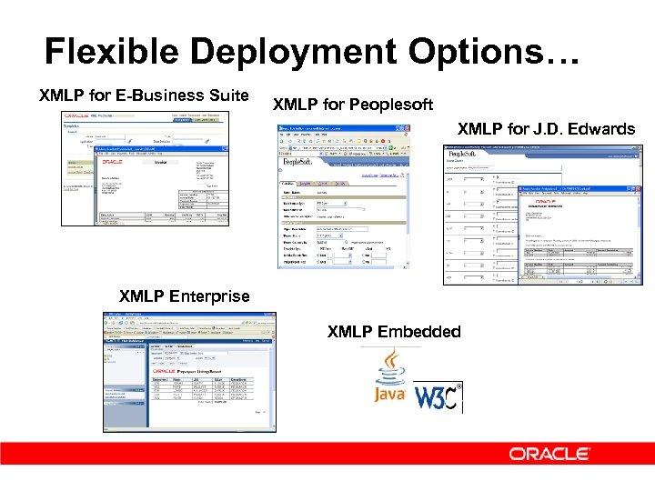 Flexible Deployment Options… XMLP for E-Business Suite XMLP for Peoplesoft XMLP for J. D.