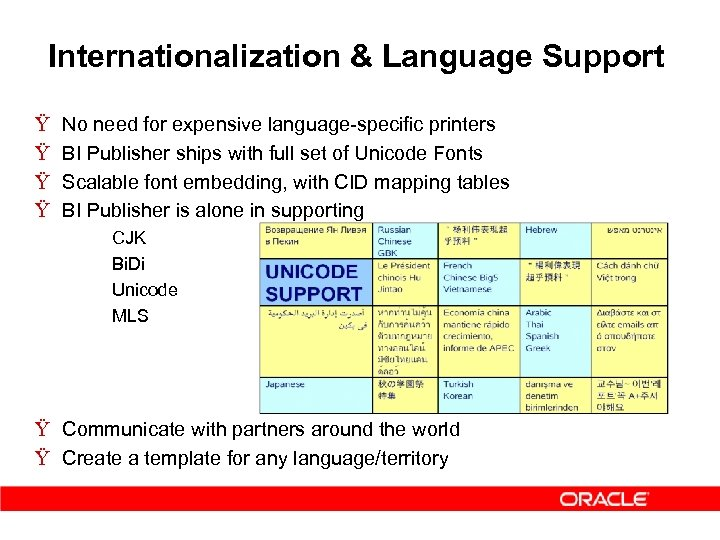 Internationalization & Language Support Ÿ Ÿ No need for expensive language-specific printers BI Publisher
