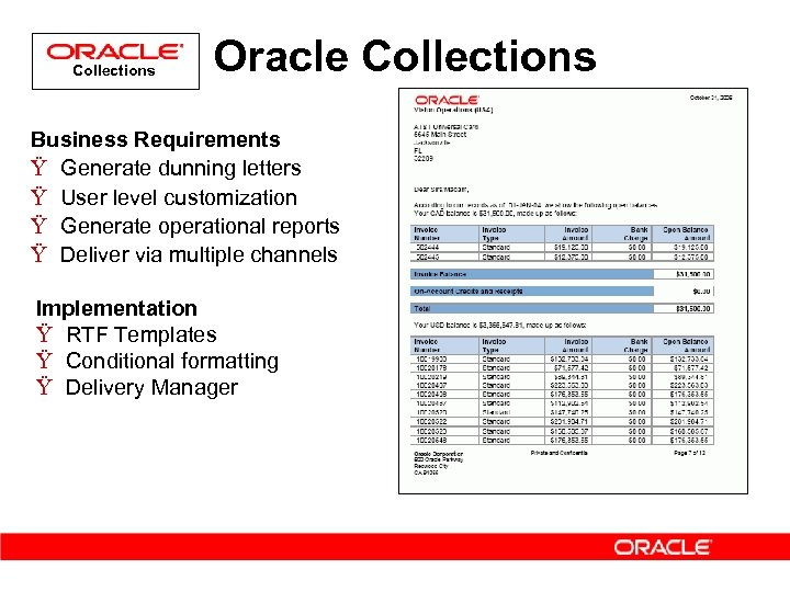 Collections Oracle Collections Business Requirements Ÿ Generate dunning letters Ÿ User level customization Ÿ