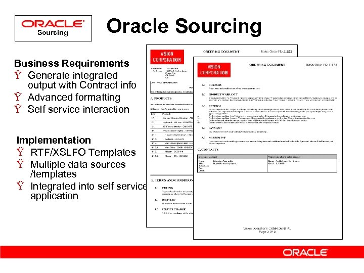 Sourcing Oracle Sourcing Business Requirements Ÿ Generate integrated output with Contract info Ÿ Advanced