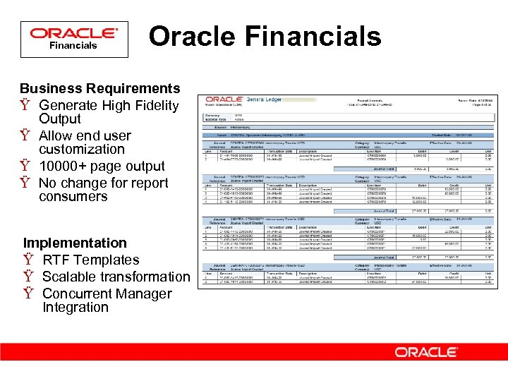 Financials Oracle Financials Business Requirements Ÿ Generate High Fidelity Output Ÿ Allow end user