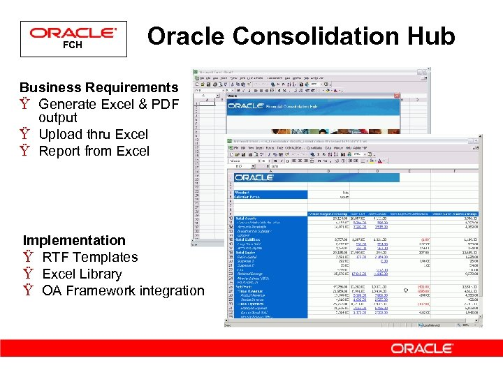 FCH Oracle Consolidation Hub Business Requirements Ÿ Generate Excel & PDF output Ÿ Upload
