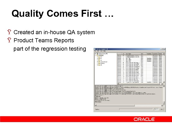 Quality Comes First … Ÿ Created an in-house QA system Ÿ Product Teams Reports