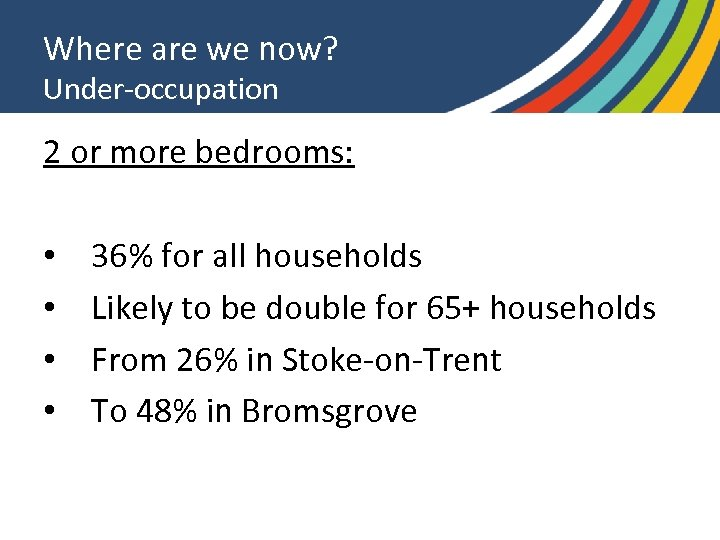 Where are we now? Under-occupation 2 or more bedrooms: • • 36% for all