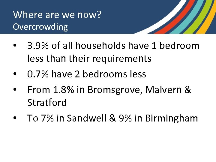 Where are we now? Overcrowding • 3. 9% of all households have 1 bedroom
