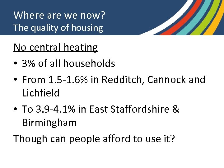 Where are we now? The quality of housing No central heating • 3% of