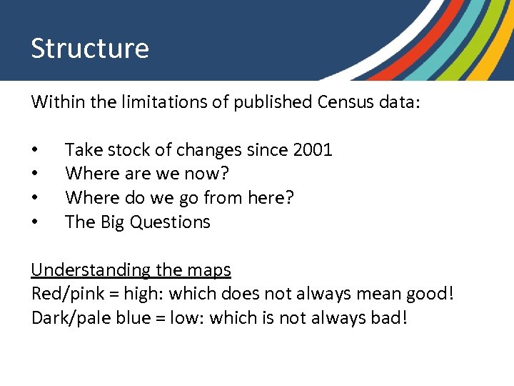 Structure Within the limitations of published Census data: • • Take stock of changes