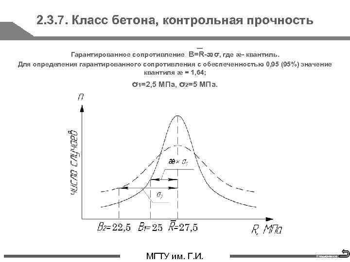 2. 3. 7. Класс бетона, контрольная прочность Гарантированное сопротивление В=R-æσ, где æ- квантиль. Для