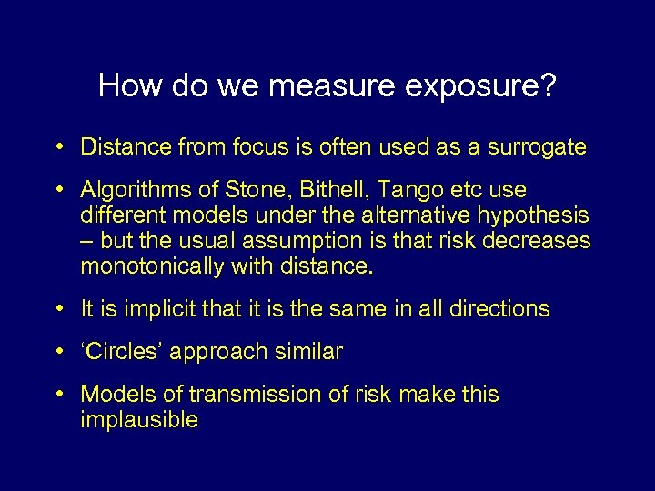 How do we measure exposure? • Distance from focus is often used as a