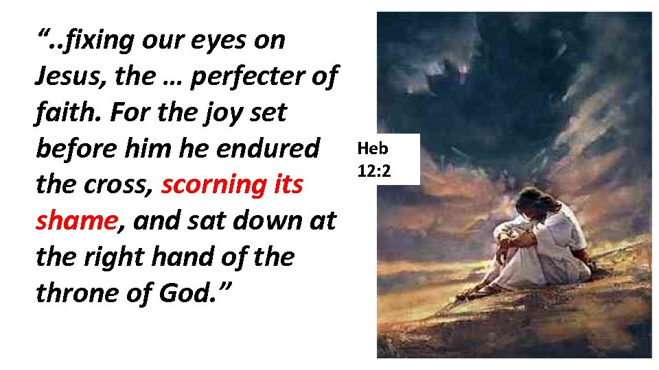 """"""". . fixing our eyes on Jesus, the … perfecter of faith. For the"""