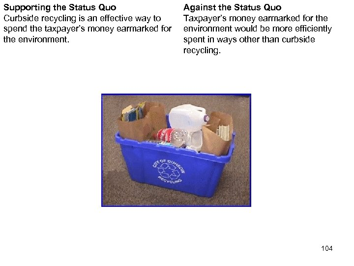 Supporting the Status Quo Curbside recycling is an effective way to spend the taxpayer's
