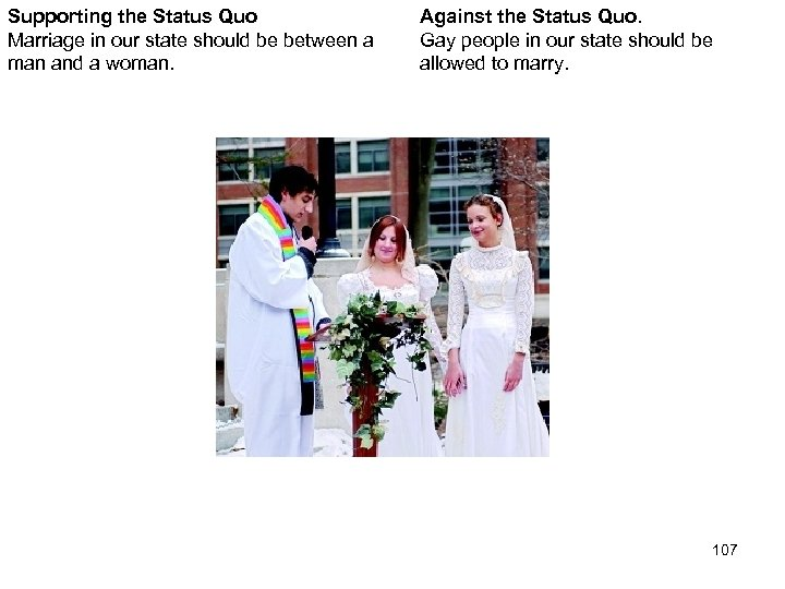 Supporting the Status Quo Marriage in our state should be between a man and