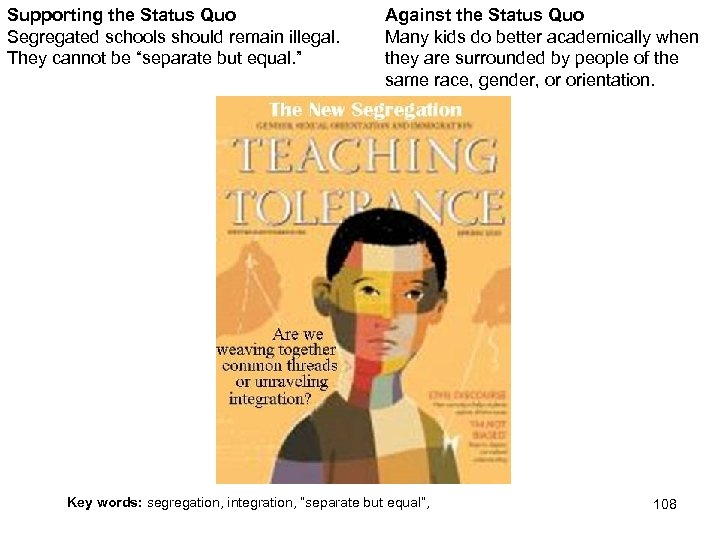 """Supporting the Status Quo Segregated schools should remain illegal. They cannot be """"separate but"""