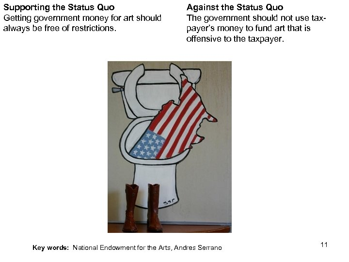 Supporting the Status Quo Getting government money for art should always be free of