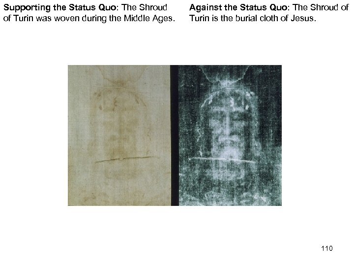 Supporting the Status Quo: The Shroud of Turin was woven during the Middle Ages.