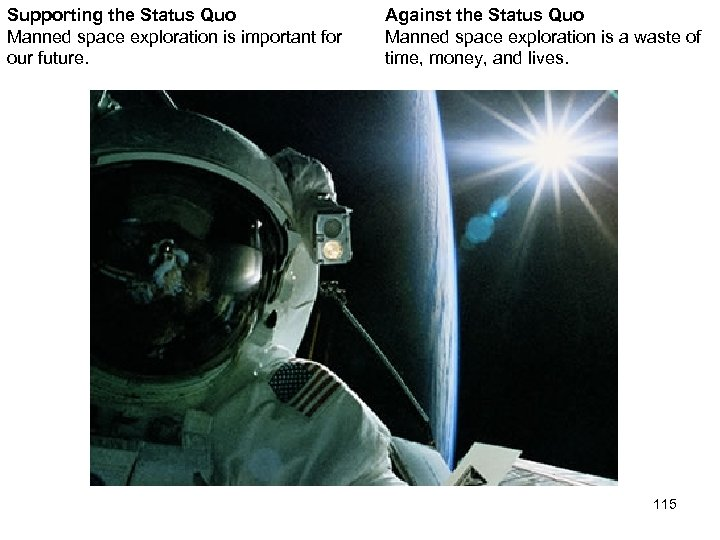 Supporting the Status Quo Manned space exploration is important for our future. Against the