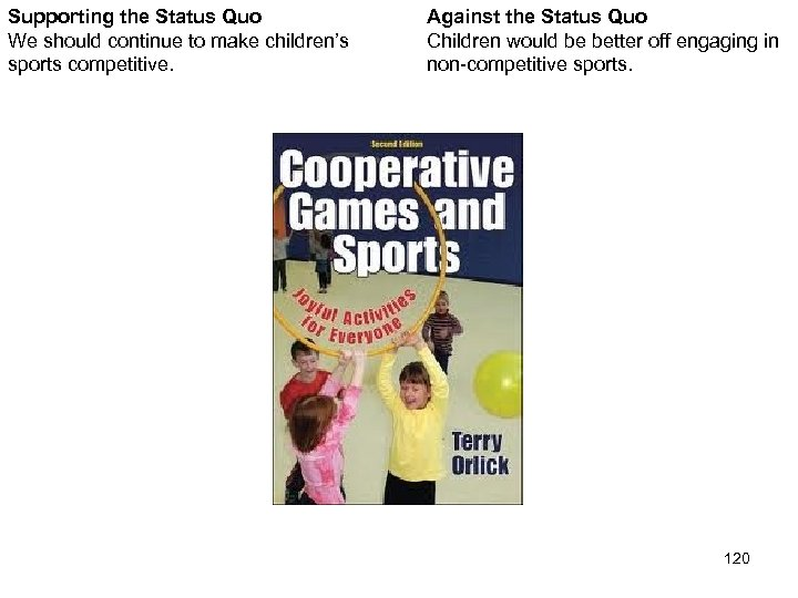 Supporting the Status Quo We should continue to make children's sports competitive. Against the
