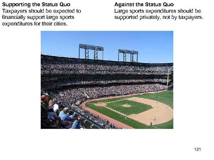 Supporting the Status Quo Taxpayers should be expected to financially support large sports expenditures