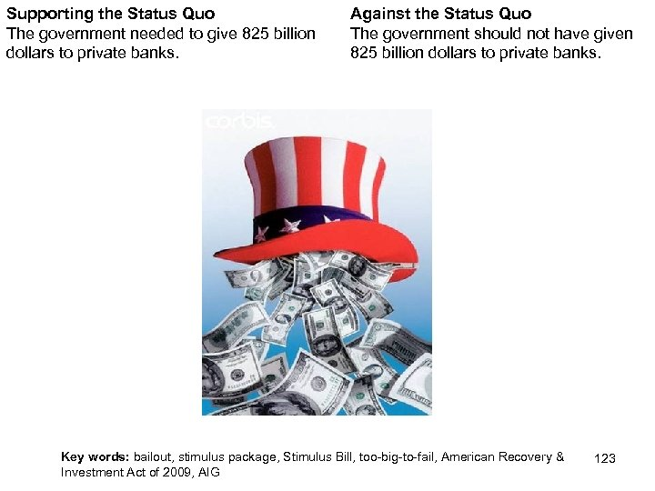 Supporting the Status Quo The government needed to give 825 billion dollars to private