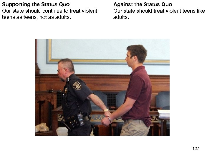 Supporting the Status Quo Our state should continue to treat violent teens as teens,