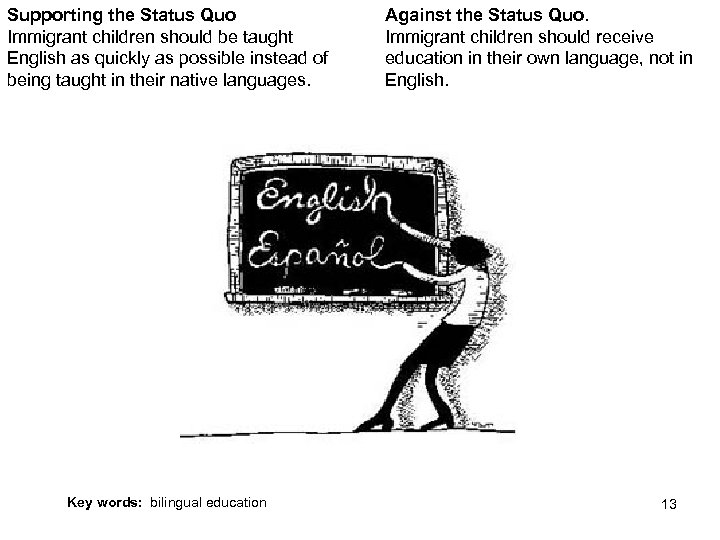 Supporting the Status Quo Immigrant children should be taught English as quickly as possible