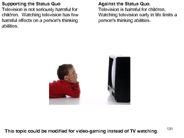 Supporting the Status Quo Television is not seriously harmful for children. Watching television has