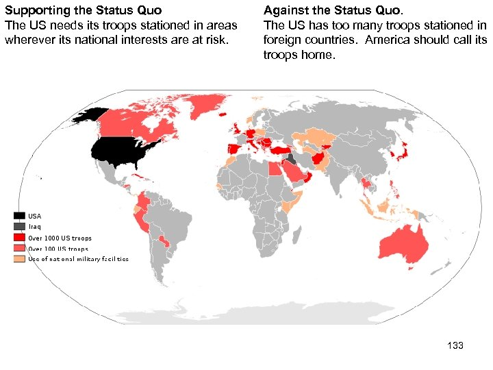 Supporting the Status Quo The US needs its troops stationed in areas wherever its