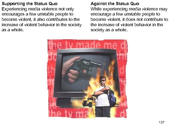 Supporting the Status Quo Experiencing media violence not only encourages a few unstable people