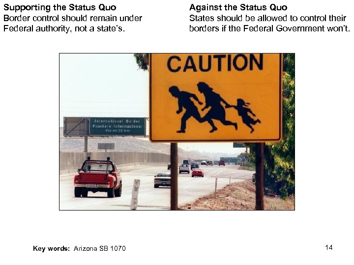 Supporting the Status Quo Border control should remain under Federal authority, not a state's.