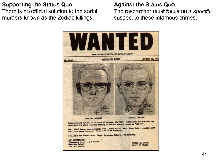 Supporting the Status Quo There is no official solution to the serial murders known