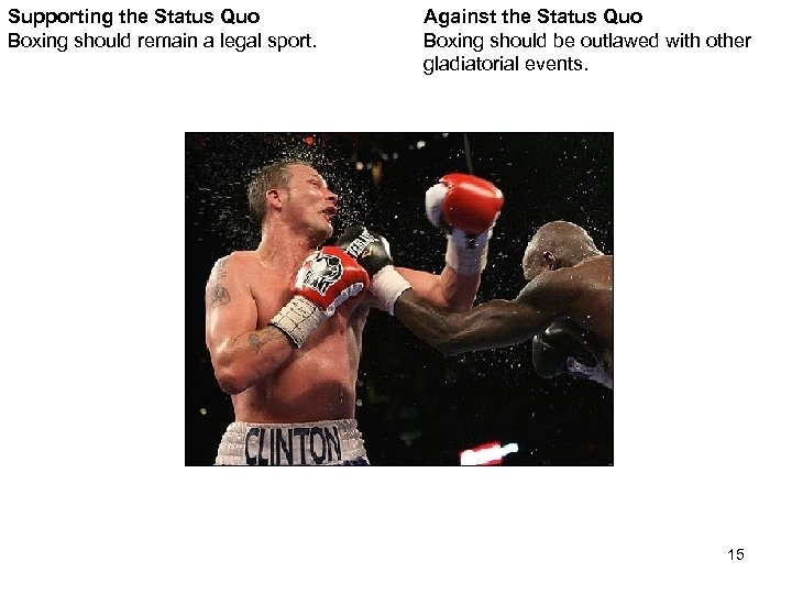 Supporting the Status Quo Boxing should remain a legal sport. Against the Status Quo
