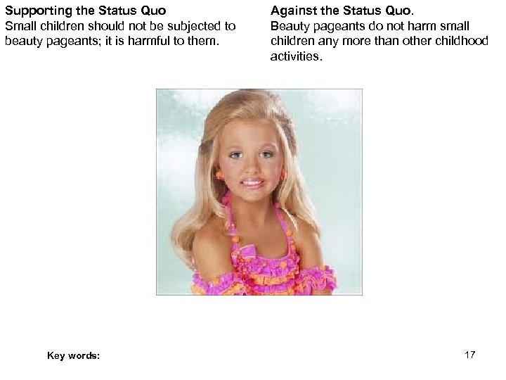 Supporting the Status Quo Small children should not be subjected to beauty pageants; it